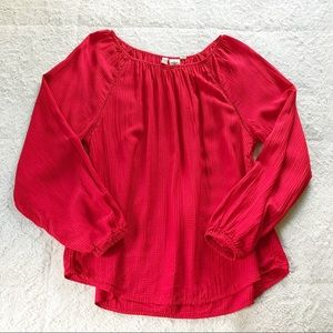 H&M Red Textured Blouse